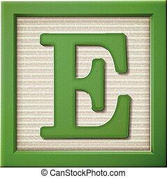 3d green letter block E