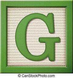 3d green letter block G