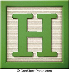3d green letter block H