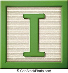 3d green letter block I