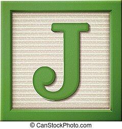 3d green letter block J
