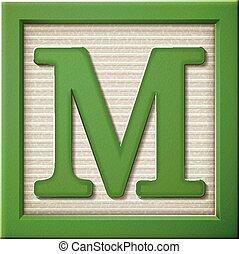 3d green letter block M