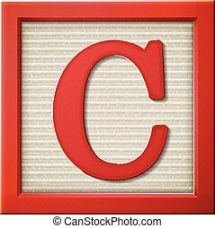 3d red letter block C