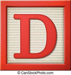 3d red letter block D