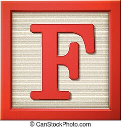 3d red letter block F