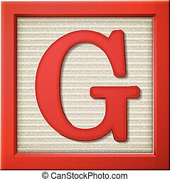 3d red letter block G