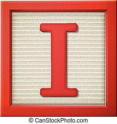 3d red letter block I