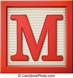 3d red letter block M