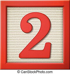 3d red number block 2 - close up look at 3d red number block...