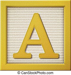 3d yellow letter block A