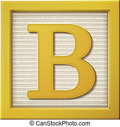 3d yellow letter block B