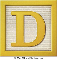 3d yellow letter block D