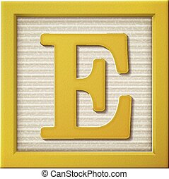 3d yellow letter block E