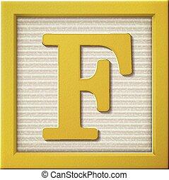 3d yellow letter block F