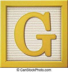 3d yellow letter block G