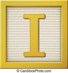 3d yellow letter block I