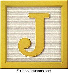 3d yellow letter block J