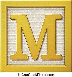 3d yellow letter block M