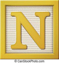3d yellow letter block N