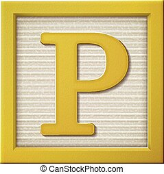 3d yellow letter block p