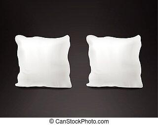 close up look at blank pillow set