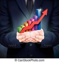businessman holding bar graph with rising arrow