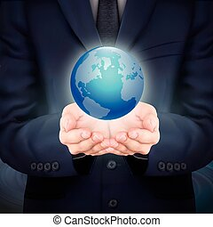 businessman holding beautiful earth