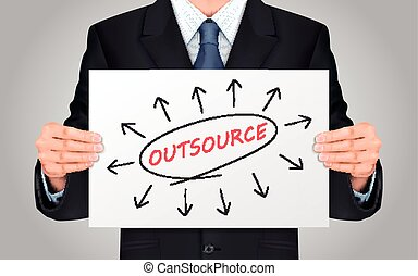 businessman holding outsource word poster