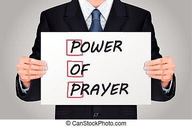 businessman holding Power Of Prayer poster