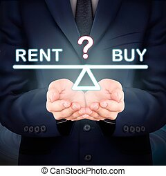 businessman holding rent and buy seesaw