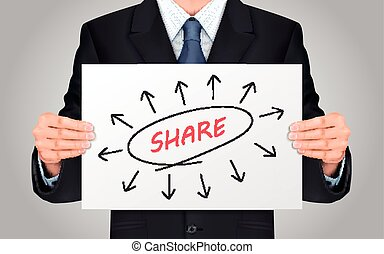 businessman holding share word poster