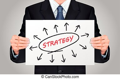 businessman holding strategy word poster