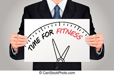businessman holding time for fitness poster