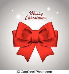 close-up look at Christmas red ribbon