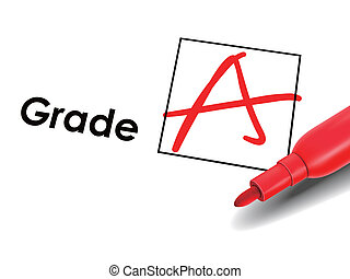 close up look at grade A on exam paper with red pen