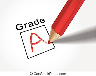 close up look at grade A on exam paper with red pencil