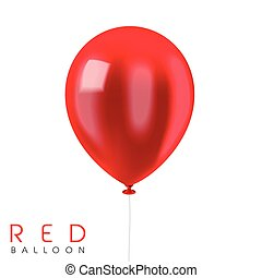 close up look at red balloon isolated on white