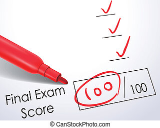 close up look at score on final exam paper