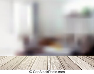wooden table over blurred kitchen scene - close-up look at...