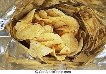 bag of potato chips or packet of crisps