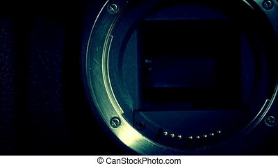 Close up look of the camera lens