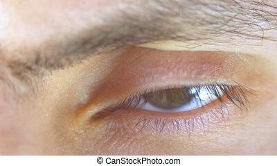 close-up., mâle, oeil, humain, blinks.