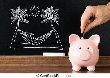 close-up, mão, pôr, piggy, banco moeda