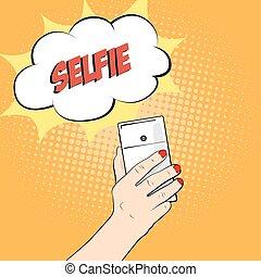 close-up., mão., smartphone