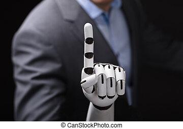 close-up, mão, tela, tocar, robô