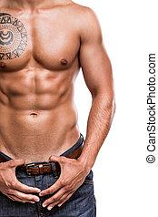 close-up, músculos,  abdominal