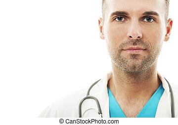 close-up, macho, bonito, doutor