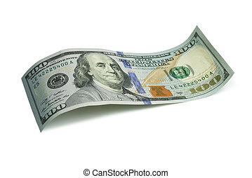 Close up macro image of 100 US dollar over white background