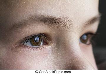 Close up macro of child boy eyes