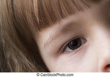 Close up macro of child girl eye